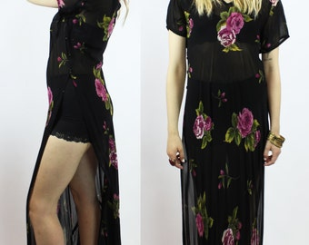Side Slit Floral Dress - Drapey Oversized Tunic - Sheer Chiffon