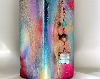 Bohemian Vase, Storage Jar, Altered Bottle Art, Mixed Media Collage, Ornamental Up Cycled Glass Bottle