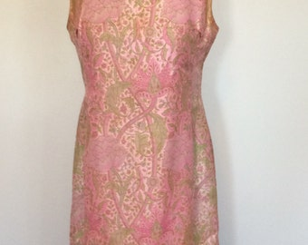 Vintage Pink Floral Dress - Large