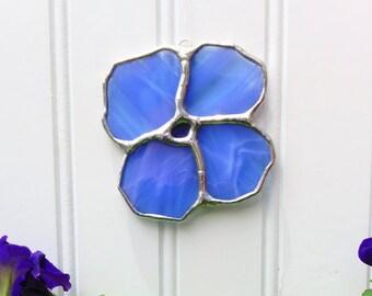 Stained Glass Suncatcher Blue Flower Tiffany Style Glass Art Sun Catcher Garden Decoration Gift Idea