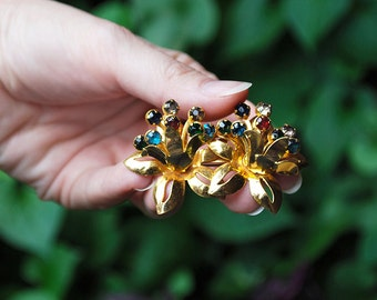 Double Bloom Goldtone Brooch with Multi Colored Rhinestones
