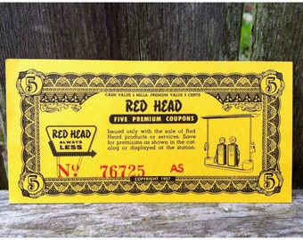Vintage 1957 Red Head Gas Gasoline Service Station Premium Coupon Gas And Oil Memorabilia