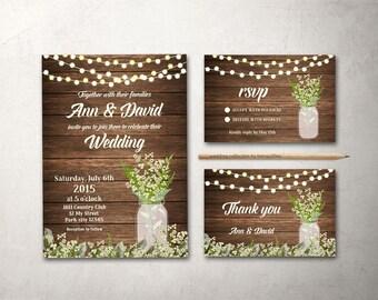 Fall Wedding Invitation Rustic Wedding Invitation Printable, Mason Jar Wedding Invite, Babys Breath Wedding Invite, Barn Wedding Invitation