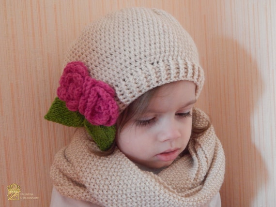 Girls Hat and Scarf Winter Set.Knitted Set for Girls .Kids Knit Hat. Kids Knit Scarf