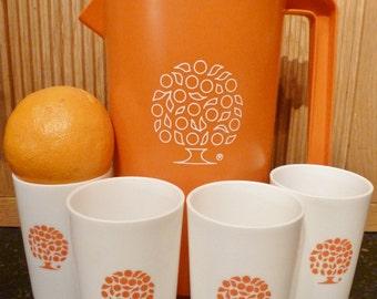 Vintage 1970s Rubbermaid Orange Juice Pitcher and Cup Set
