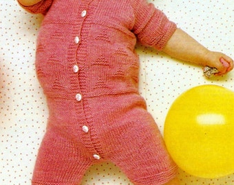 Baby's Knit Playsuit Vintage Knitting Pattern Download