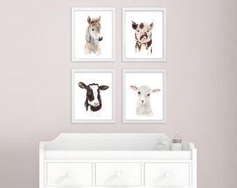 Baby Animal Prints, Farm Nursery Art Print Set, Farm Animals, Animal Prints for Nursery, Animal Art, Set of 4 Prints, Cow, Horse, Pig, Sheep
