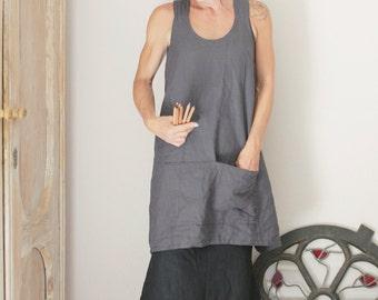 Tablier en lin en ardoise gris, croisées dans le dos, tablier chasuble, lin naturel, respectueux de l'environnement