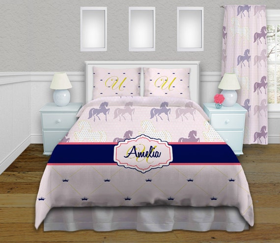 items similar to pony kids bedding purple pink navy and gold horse comforter with. Black Bedroom Furniture Sets. Home Design Ideas