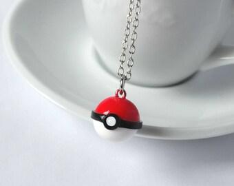 Pokemon pokeball necklace handmade from polymer clay