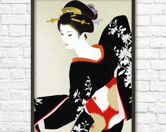 Japanese Geisha Wall Art Poster #3 - Oriental Home Decor - Japanese Print