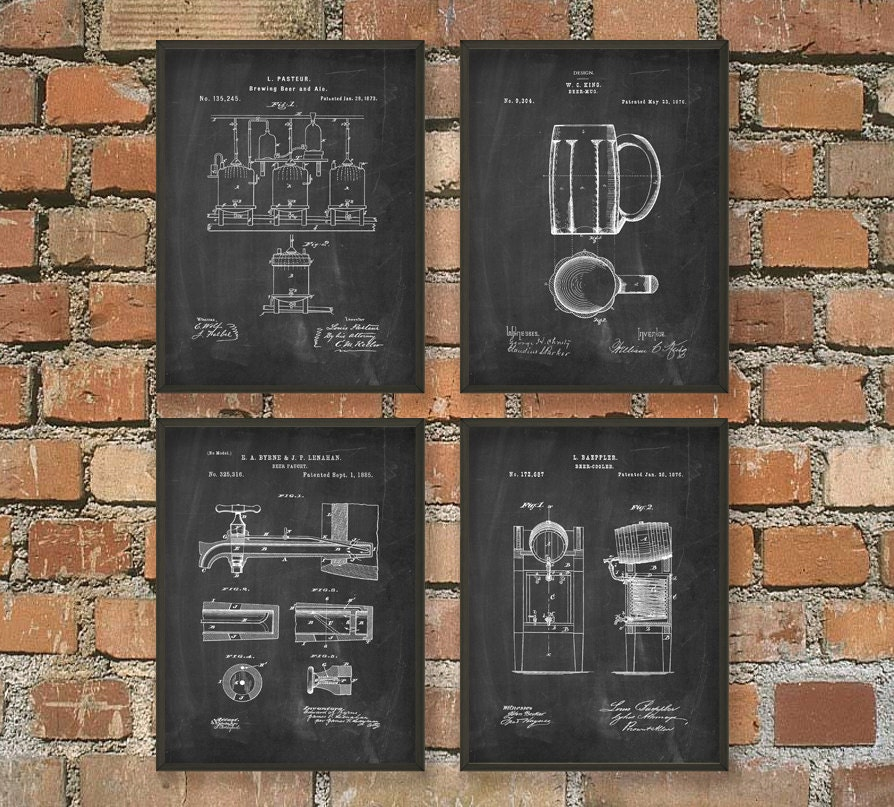 Beer Brewing Patent Prints Set Of 4 Beer Poster Beer Art