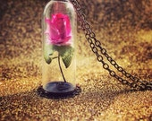 Disney's Beauty and the Beast Inspired Rose Necklace