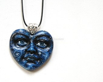 Blue heart pendant, Love Is Universe! Unique gift for sky and space lovers. Cast resin sculpture, hand painted. Creative art jewelry