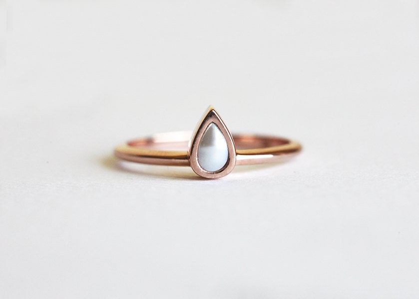 Rose Gold Pearl Ring Pearl Engagement Ring Simple Pearl