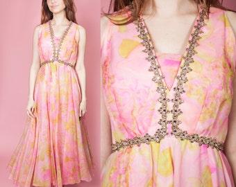 1969 Bergdorf Goodman Silk Chiffon and Austrian CrystalMaxi Gown