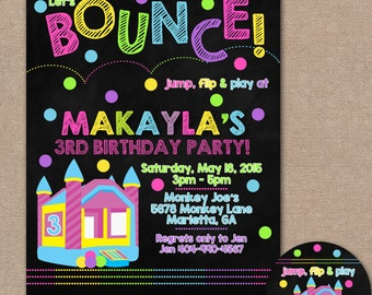 Bouncy House Birthday Invitation, Bouncy House Birthday Party, Chalkboard, Jump Party Invite, Bounce House Invite, Trampoline (#551)