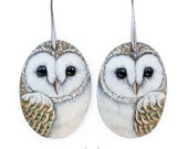 Pair of Barn Owl Earrings | Hand Painted Jewels