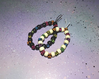Pastel Goth Black Emoji Bracelet / Pastel Goth Clothing, Black Bracelet, Rainbow Bracelet, Pastel Grunge Bracelet, Smiley Face Rave Kandi
