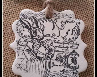 Whimsical Bunny ~ Polymer Clay Ornament or Gift Tag