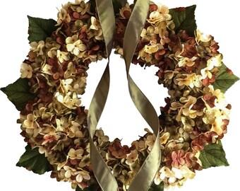 Blended Hydrangea Wreath | Front Door Wreath | Fall Wreath | Hydrangea Wreath | Summer Wreath | Home Decor | Housewarming Gift