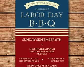 Labor Day Invitation-Patriotic Party Invitation- 4th of July Invite- Memorial Day Party Invite- Labor Day Invite