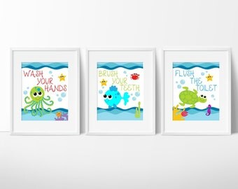 Kids Bathroom Art- Sea Creature Bathroom print set, Under The Sea, Kids Bathroom Decor,Bathroom Rules, Instant Download, PRINTABLE 8x10