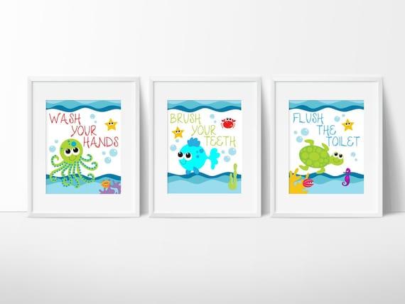 Kids Bathroom Art  Sea Creature Bathroom Print Set, Under The Sea, Kids Bathroom  Decor,Bathroom Rules, Instant Download, PRINTABLE 8x10