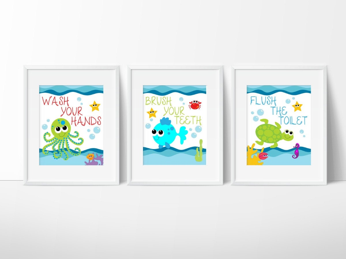 Bathroom Sea Wall Decor : Kids bathroom art sea creature print set under the