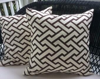 Quadrille Pillow Cover in Deep Chocolate and Cream Aga