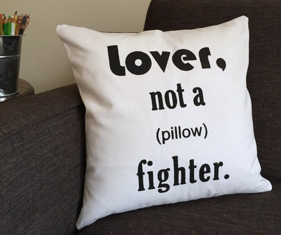 Quirky Throw Pillow : Handmade Quirky Throw Pillow Cover with Lover not by KobolDesigns