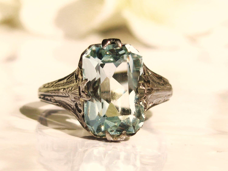 Antique Engagement Ring 5 34ct Emerald Cut Aquamarine Ring 18k