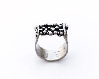 Granulated Ring -  Abstract Ring - Medieval ring - Microsculpture Ring - Recycled Sterling Silver .925