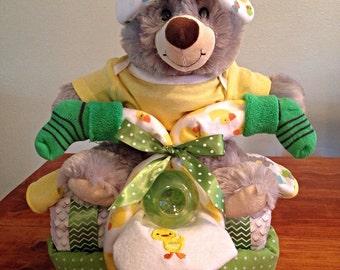 Gender Neutral Teddy Bear Tricycle Diaper Cake