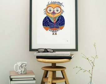 Owlstein Owl, Watercolor Art Print