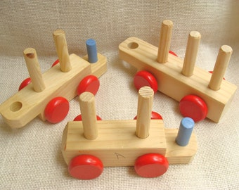 Unfinished interlocking wood train cars for upcycle, craft, repurpose - wood toy - kids craft project - nursery, playroom decor