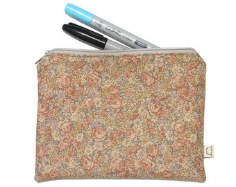 Pencil case roses and flowers, romantic zipper pouch, cosmetic pouch