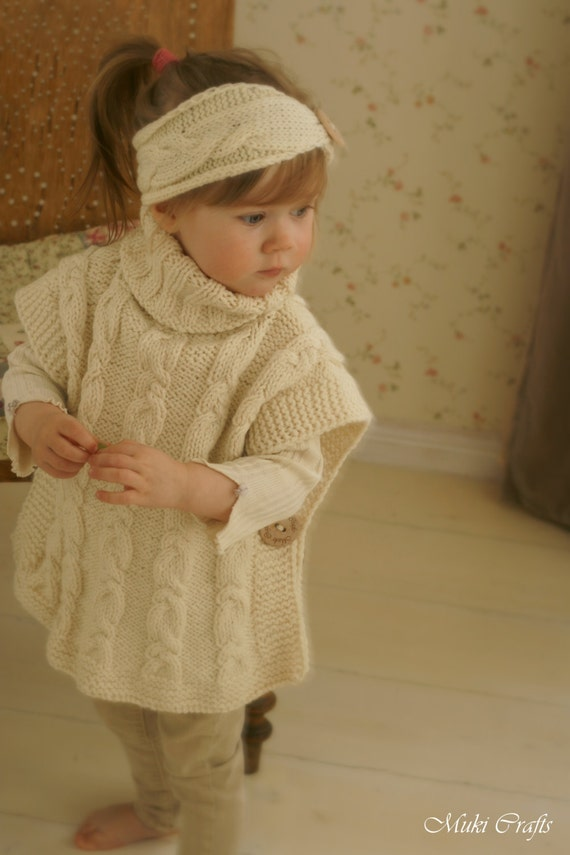 Knitting Pattern For Toddler Poncho : KNITTING PATTERN poncho Robyn and headband with by MukiCrafts