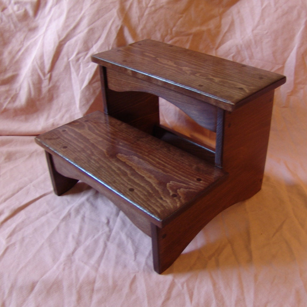 handcrafted heavy duty step stool wooden adult kitchen. Black Bedroom Furniture Sets. Home Design Ideas