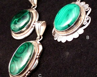 Green Malachite Pendant. Sterling Silver. Round or Oval. free US ship