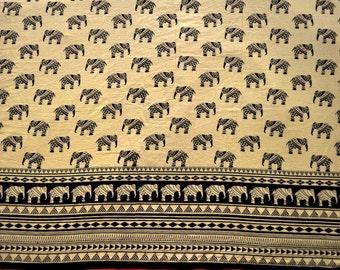 Tribal print cotton Folk art elephant print fabric by yard