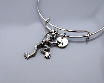 Frog bangle, Frog bracelet, Frog charm jewelry, Expandable bangle, Personalized bracelet, Charm bangle, Monogram, Initial bracelet