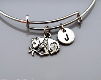 Panda Bear Bangle, Panda bracelet, Panda Bamboo tree, Silver panda charm, Expandable bangle, Personalized bracelet, initial bracelet