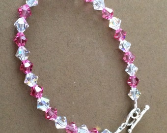 Sterling Silver And Glass Bead Bracelet 7 1/2""