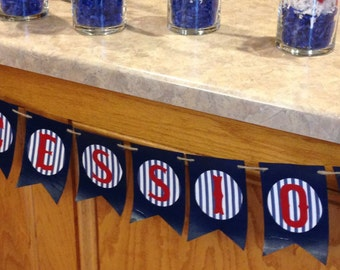 Boys Baseball Birthday Party Concessions Banner, Red White & Blue, 4th of July, Patriotic