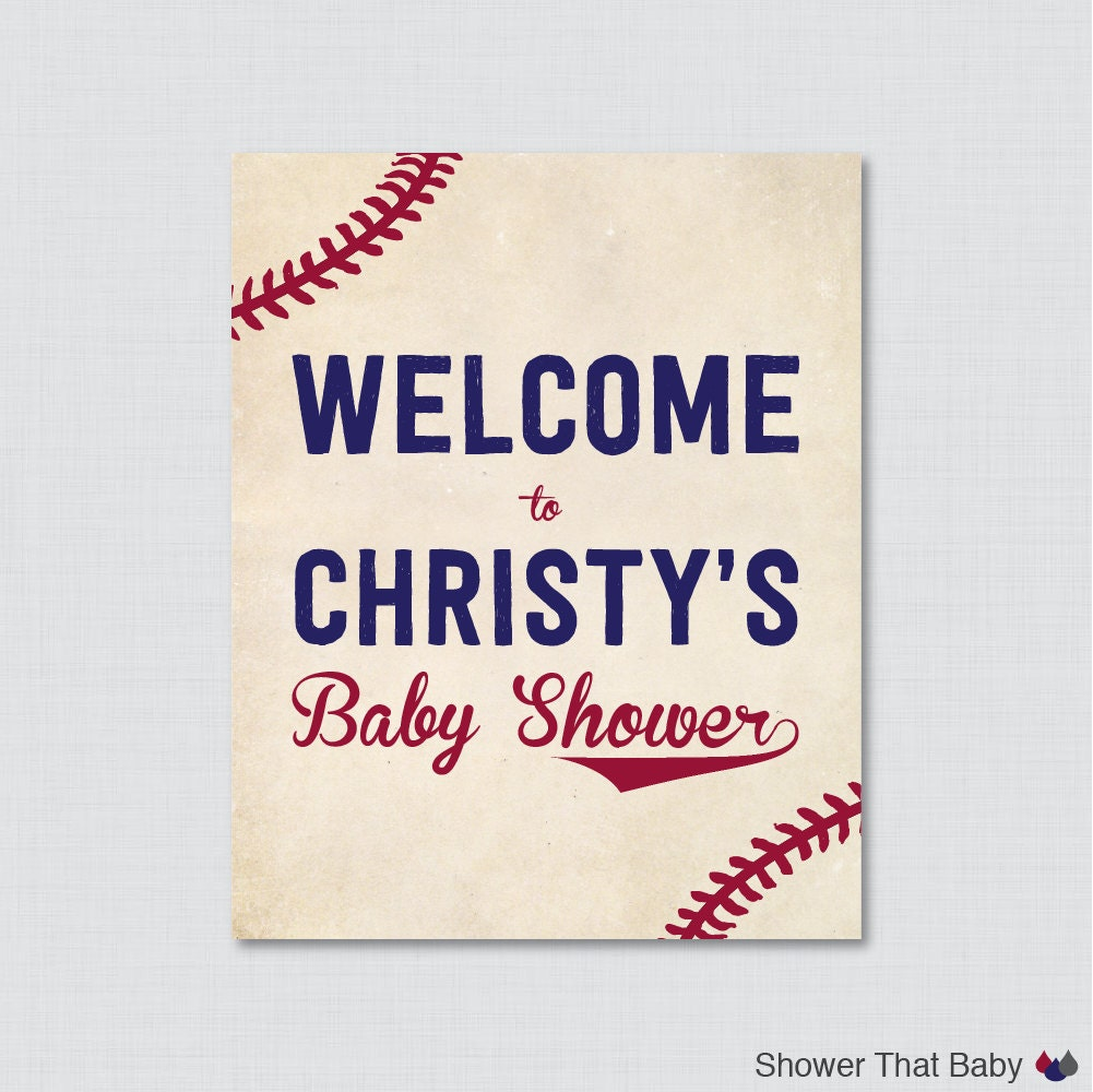 baseball baby shower welcome sign printable personalized