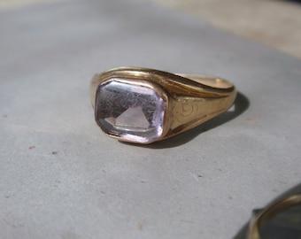Antique Amethyst Ostby Barton Signet Ring 10k Victorian Art Deco February birthstone Mens Maltese gold
