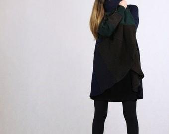 Dark Green Pure Wool Coolawoola Recycled Smart Handmade Womens Long Coat Hoodie Cloak