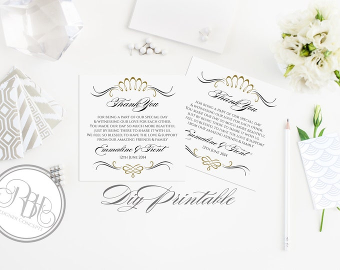 Thank You Wedding Template-Instant Download-Wedding Thank You Card PDF Editable Text Only-Art Deco Gold & Black DIY Printable - Anneliese