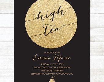 black gold high tea invitation, black gold afternoon tea invitation, birthday tea invitation, bridal tea party invitation, high tea party